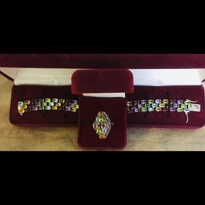 Vintage multi gem tourmaline jewelry set